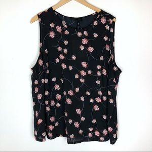 Who What Wear Black Floral Tank Top Size 2X NWT